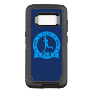 Live Laugh Love RUN male circle (blue) OtterBox Defender Samsung Galaxy S8 Case