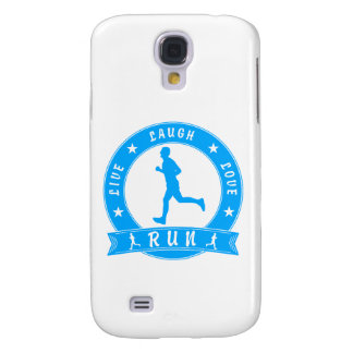 Live Laugh Love RUN male circle (blue) Samsung Galaxy S4 Case