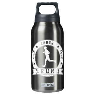 Live Laugh Love RUN male circle (wht) Insulated Water Bottle