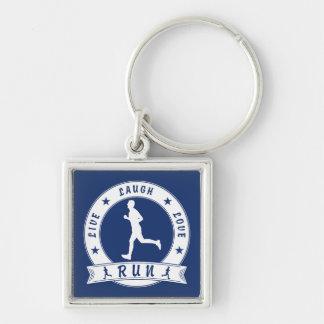 Live Laugh Love RUN male circle (wht) Key Ring