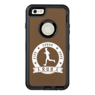 Live Laugh Love RUN male circle (wht) OtterBox Defender iPhone Case