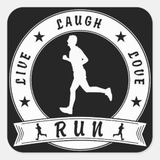 Live Laugh Love RUN male circle (wht) Square Sticker