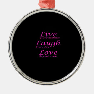 Live, Laugh, Love Silver-Colored Round Decoration