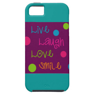 Live, Laugh, Love, Smile Polka Dots Tough iPhone 5 Case