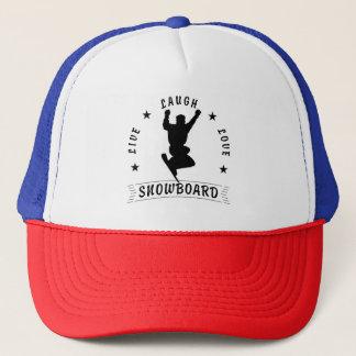 Live Laugh Love SNOWBOARD 2 black text Trucker Hat
