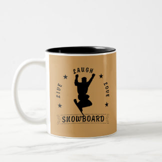Live Laugh Love SNOWBOARD 2 black text Two-Tone Coffee Mug