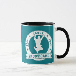 Live Laugh Love SNOWBOARD 2 Circle Mug