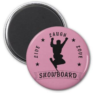 Live Laugh Love SNOWBOARD black text Magnet