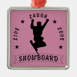 Live Laugh Love SNOWBOARD black text Silver-Colored Square Decoration