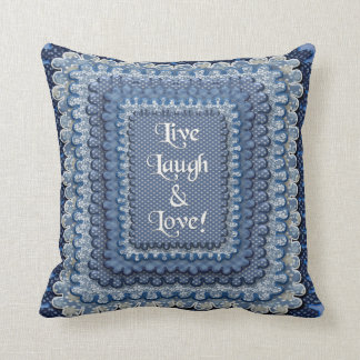 LIVE, LAUGH, LOVE SQ. PILLOW - COUNTRY BLUES
