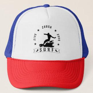 Live Laugh Love Surf 3 BlackText Trucker Hat