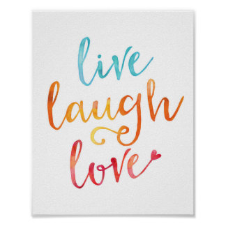 Live laugh love watercolor typography print poster