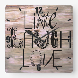 Live laugh love wooden rustic sign wall clock