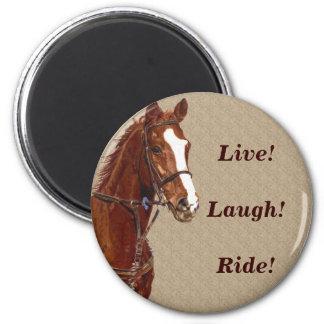 Live! Laugh! Ride Horse 6 Cm Round Magnet