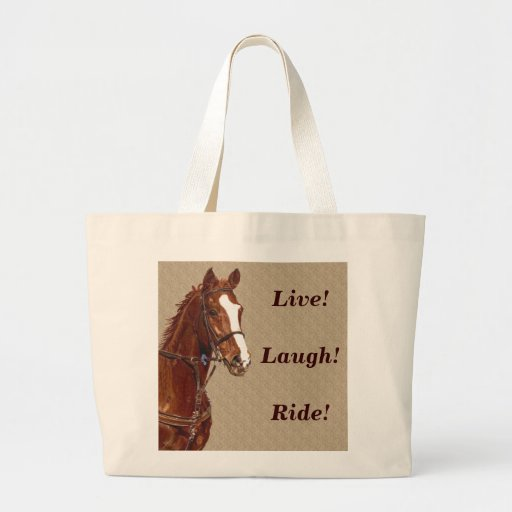 Live! Laugh! Ride Horse Canvas Bag