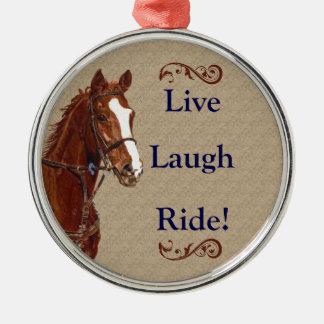 Live Laugh Ride! Horse Silver-Colored Round Decoration