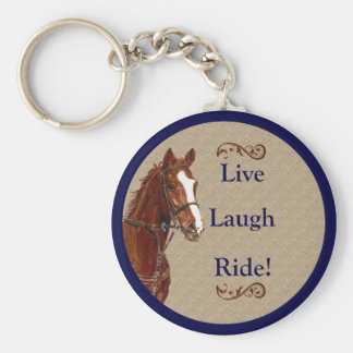 Live Laugh Ride! Horse Basic Round Button Key Ring