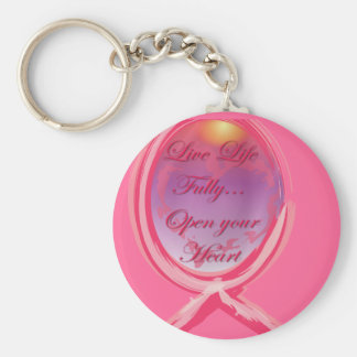 Live Life Fully: Breast Cancer Pink Ribbon Key Chains