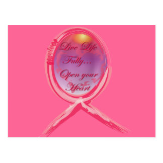 Live Life Fully: Breast Cancer Pink Ribbon Postcard