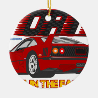 LIVE_LIFE_IN_THE_FAST_LANE: forty Ceramic Ornament