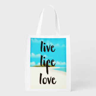 Live Life Love inspirational quote Reusable Grocery Bag
