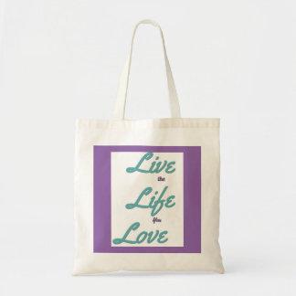 Live Life motivational tote bag