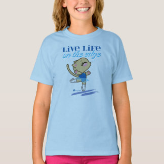 Live Life on the Edge Figure Skating Cat T-shirt