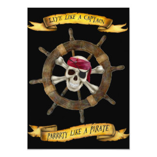 LIVE LIKE A CAPTAIN  PARTY LIKE A PIRATE CARD