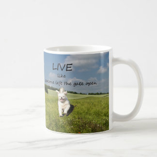 """Live Like Someone Left the Gate Open"" Mug - Left"