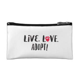 Live. Love. Adopt Purse Cosmetic Bags