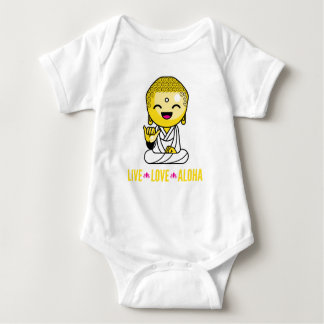 Live Love Aloha Funny Buddha cartoon Baby Bodysuit
