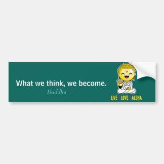Live Love Aloha Funny Buddha cartoon Bumper Sticker
