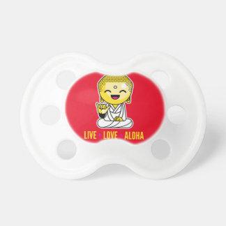 Live Love Aloha Funny Buddha cartoon Pacifier