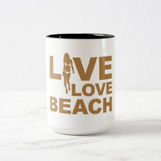Live Love Beach Two-Tone Coffee Mug