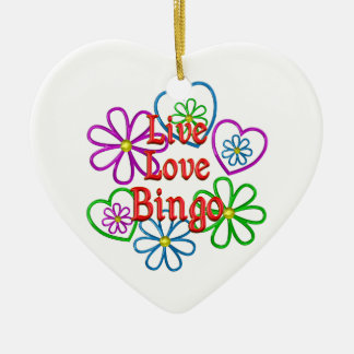 Live Love Bingo Ceramic Heart Decoration