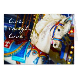 """Live Love"" carousel horse photo blank inside card"