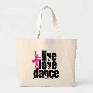 Live, Love, Dance Ballerina Canvas Bags