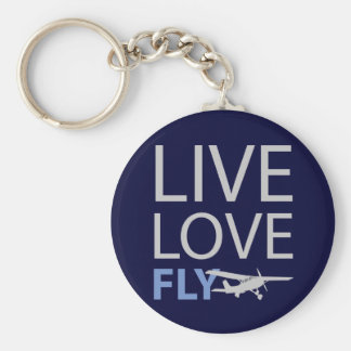 Live Love Fly Basic Round Button Key Ring