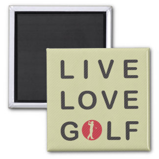 Live Love Golf Golfing Red Black Magnet