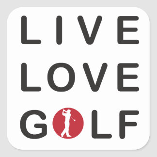Live Love Golf Golfing Red Black Square Stickers