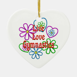 Live Love Gymnastics Ceramic Heart Decoration
