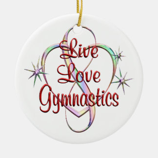 Live Love Gymnastics Round Ceramic Decoration
