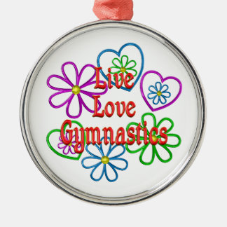 Live Love Gymnastics Silver-Colored Round Decoration