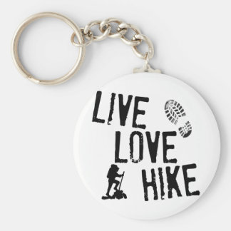 Live, Love, Hike Basic Round Button Key Ring