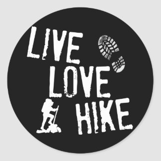 Live, Love, Hike Classic Round Sticker