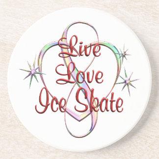 Live Love Ice Skate Sandstone Coaster