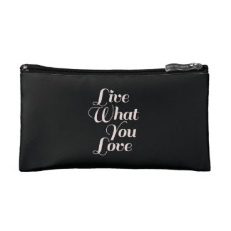 Live Love Inspirational Quote Gift Black Cosmetics Bags