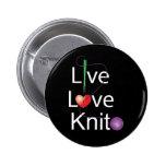 Live Love Knit 6 Cm Round Badge