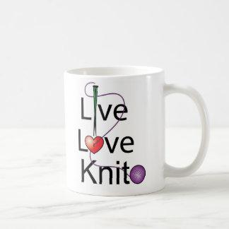 Live Love Knit Basic White Mug