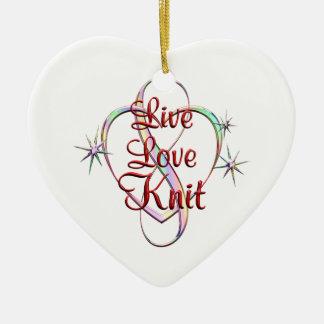 Live Love Knit Ceramic Heart Decoration
